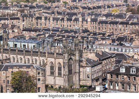 View Of Edinburg City With Old Houses In Scotland
