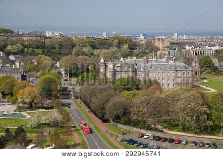 Panorama Of Holyroodhouse Palace Is Residence Of The Queen In Edinburgh, Scotland
