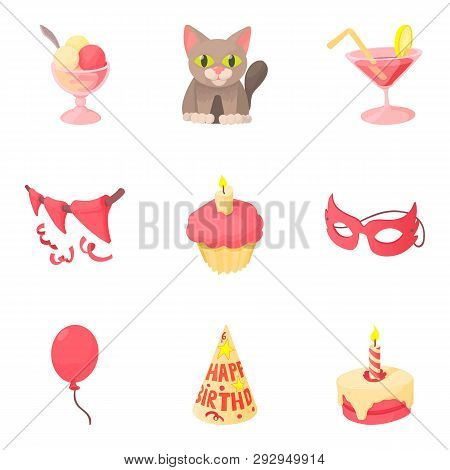 Fete Day Icons Set. Cartoon Set Of 9 Fete Day Icons For Web Isolated On White Background
