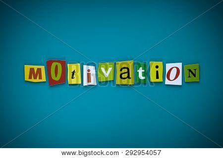Word Motivation Of Cut Letters On Blue Background. Self Development Concept. Headline - Motivation.