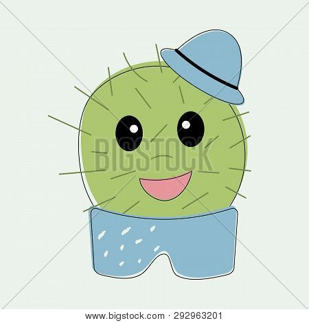Funny Simple Naive Cute Cactus Boy With Blue Hat On Head In Pot Trousers.for Decoration Of Children