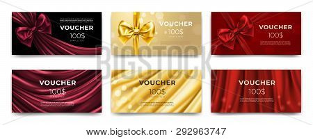 Golden Voucher Or Red Gift Card, Gold Certificate For Discount. Set Of Isolated Template For Present