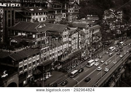CHONGQING, CHINA – MARCH 13: Hongyadong shopping complex aerial view on March 13, 2018 in Chongqing. With 17M population, it is the most populous Chinese municipality.