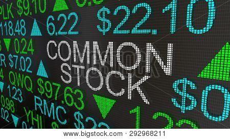 Common Stock Securities Shares Market Ticker 3d Illustration poster