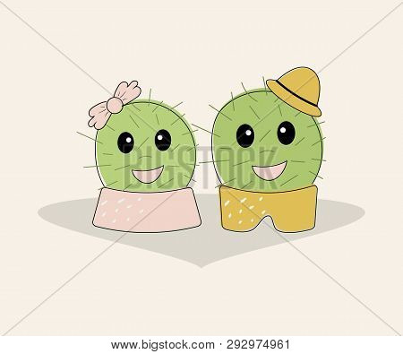 Funny Simple Naive Cute Cactus Pair:girl With Pink Bow And Boy With Yellow Hat.for Decoration Of Chi