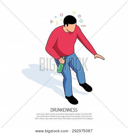 Unbalanced Man With Colorful Geometric Elements Around Head And Bottle In Hand During Drunkenness Is