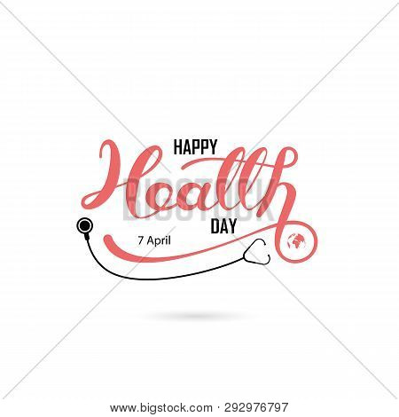 World Health Day Typographical Design Elements. World Health Day Lettering Icon.world Health Day Log
