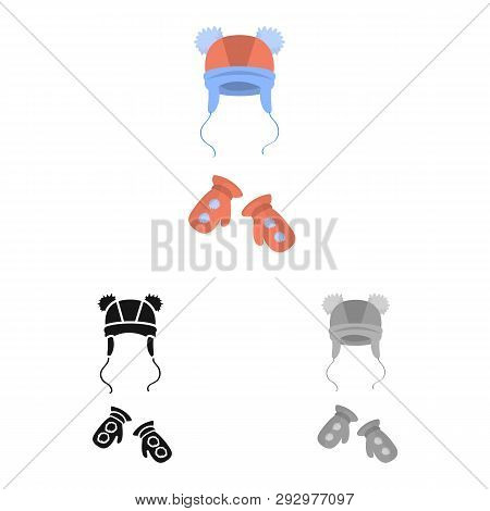 Isolated Object Of Hat  And Pompom Logo. Collection Of Hat  And Kids   Stock Vector Illustration.