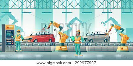 Car Factory Robotized Production Line Cartoon Vector. Technicians Controlling Vehicle Body Welding A