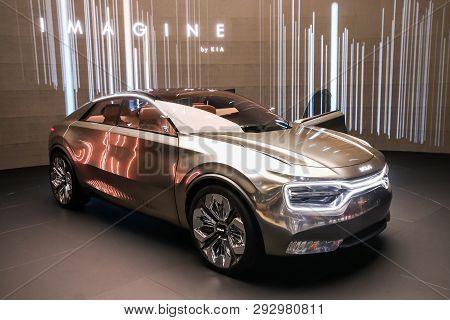 Geneva, Switzerland - March 11, 2019: Concept Car Imagine By Kia Presented At The Annual Geneva Inte