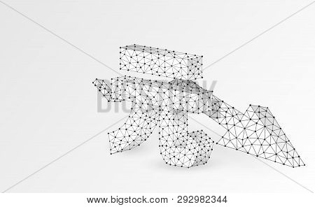 China Yuan Currency, Downtrend Arrow, Digital Origami 3d Illustration. Polygonal Vector Business Cri