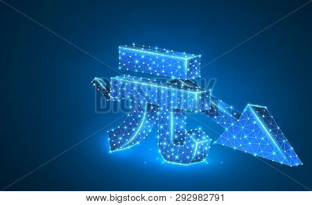 China Yuan Currency With Downtrend Arrow, Digital Neon 3d Illustration. Polygonal Vector Business Cr
