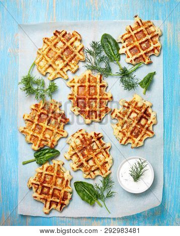 Healthy Breakfast. Savory  Spinach Dill Waffles, With Tzatziki On A Blue Background. View From Above
