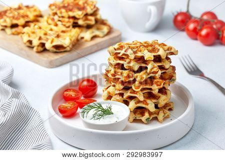 Healthy Breakfast. Savory  Waffles With Avocado And Tomatoes, With Tzatziki.
