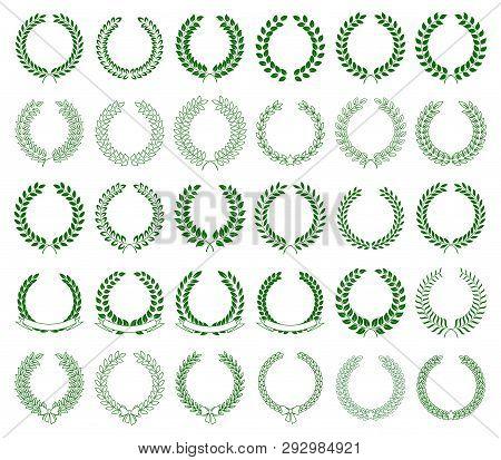 Vector Set Of Green Laurel Wreaths On White Background