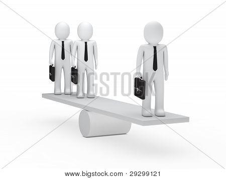 Businessmen Balance On Seesaw