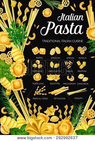 Italian Pasta, Italy Traditional Cuisine Restaurant Menu. Vector Italian Homemade Pasta Fusilli, Rav