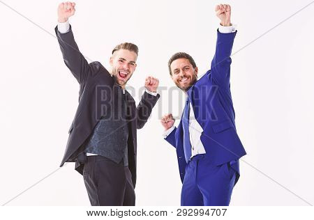 Business Achievement Concept. Office Party. Celebrate Successful Deal. Men Happy Emotional Celebrate