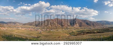 Panorama Of Weissenkirchen Village With Danube River During Spring Time In Wachau, Austria
