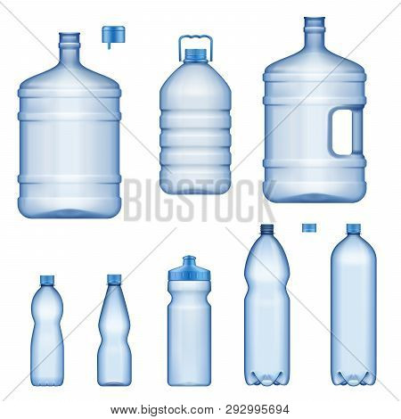 Plastic Water Bottles, Realistic 3d Mockup Model Set. Vector Isolated Transparent Liquid Containers,
