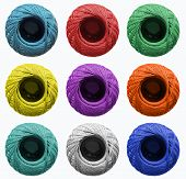 Skeins for knitting in different colors. Background for atelier, sewing studios, hardware stores. poster
