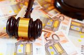 Judge gavel and euro money banknotes. Judgement, justice and bribery concept. poster