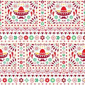 Seamless vector Mexican floral pattern with sombrero, chili peppers and flowers, happy repetitive background poster