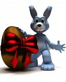 3D Render of an Easter Bunny with Easter Egg poster