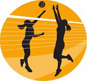 Illustration of a female volleyball player spiking hitting ball with other player blocking on isolated background. poster