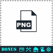 PNG file icon flat. Simple vector symbol and bonus icon poster