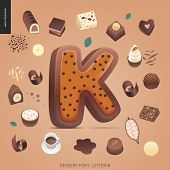 Dessert font - letter K - modern flat vector concept digital illustration of temptation font, sweet lettering. Caramel, toffee, biscuit, waffle, cookie, cream and chocolate letters poster