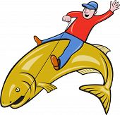 illustration of a fly fisherman riding a jumping trout fish done in cartoon style on isolated white background. poster