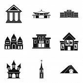 Dwelling icons set. Simple set of 9 dwelling icons for web isolated on white background poster