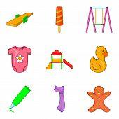 Childlike icons set. Cartoon set of 9 childlike icons for web isolated on white background poster