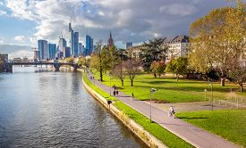 Frankfurt am Main, Germany - scenic view of corporate downtown and pedestrian street