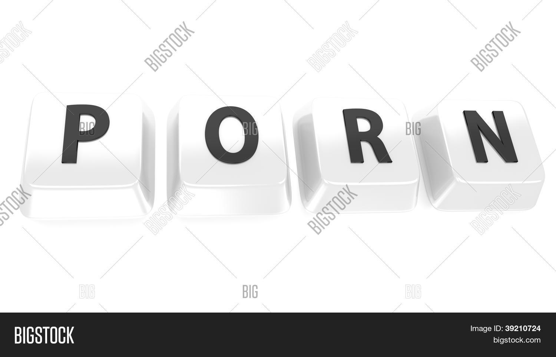 Porn Written In Black On White Computer Keys 3d Illustration Isolated Background