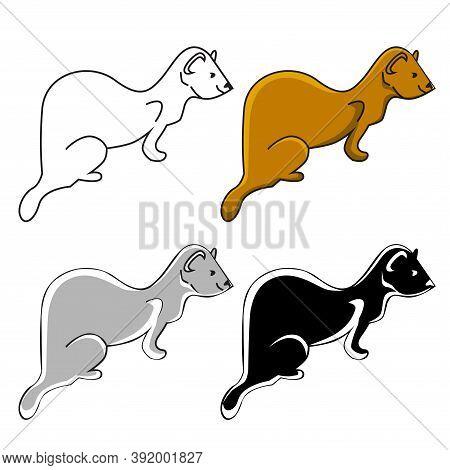 Ferrets, Set Of 4 Similar Icons - Brown, Black, Grey, White