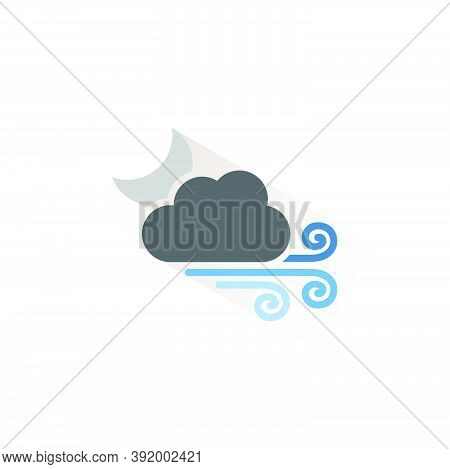 Strong Wind, Moon And Cloud. Isolated Color Icon. Weather Glyph Vector Illustration
