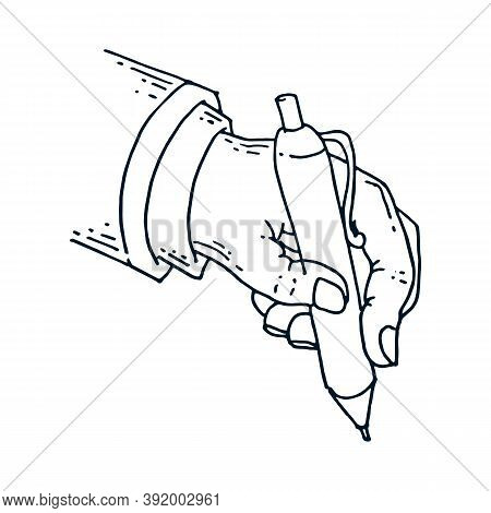 Male Hand Holds A Pen. Vector Illustration Hand Of A Businessman Holds A Pen. Hand Drawn Male Hand I