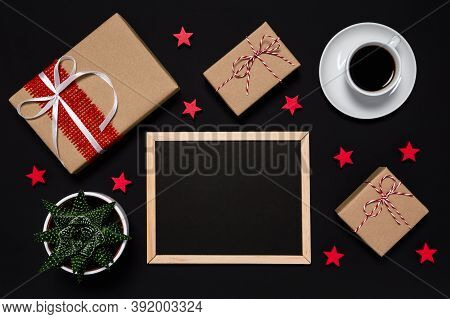Black Friday Sale. Presents, Coffee, Red Stars And Blackboard With With Copy Space For Your Message