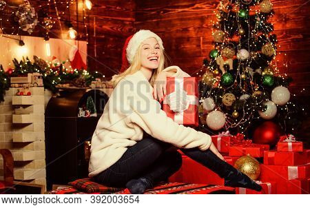 Happy Smiling Woman And Gift Box. Happy Moments. Happiness And Joy. Thrilling Emotions. Merry Christ