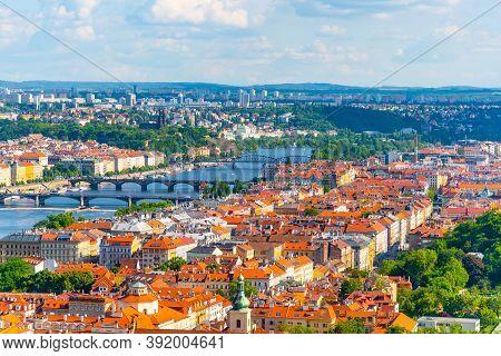 Prague Skyline With Bridges Over Vltava River, Praha, Czech Republic