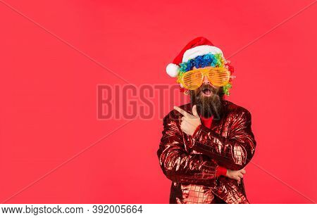 Warmest Greetings This Season. Bearded Man Celebrate Christmas. Christmas Party Entertainment. Chris