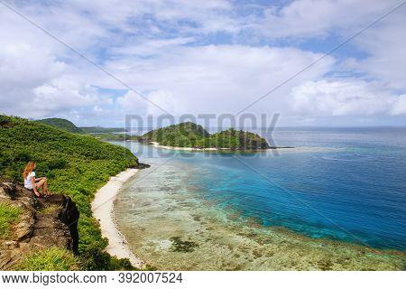 View Of Drawaqa Island Coastline And Nanuya Balavu Island, Yasawa Islands, Fiji. This Archipelago Co