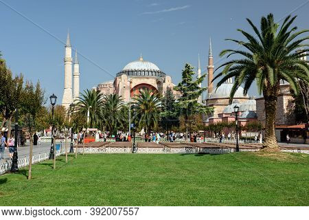 Istanbul, Turkey - October 05, 2020. View Of The Sultan Ahmet Park In Front Of Hagia Sophia Grand Mo
