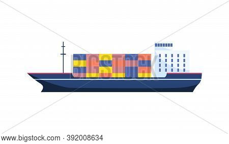 Cargo Ship, Dry Cargo Ship Or Container Ship Template Isolated On White Background. Ship Icon For Br