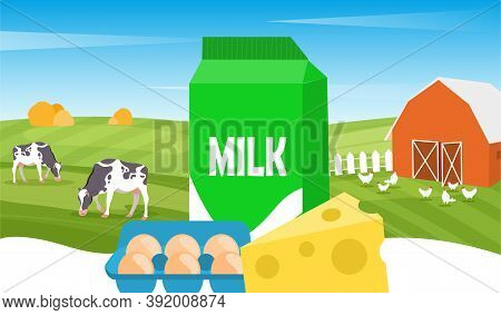 Concept Of Organic Products. Cow And Chicken Grazing On Green Field Near Barn. Ecological Agricultur