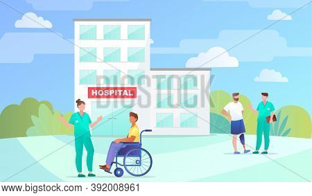Rehabilitation Center Or Clinic For Disabled Or Injured People. Patients Talking With Doctors In Cli