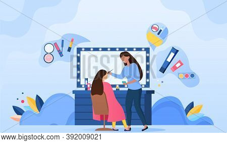 Makeup Artist Doing Makeup For Woman In Beauty Salon. Professional Beautician And Celebrity In Armch