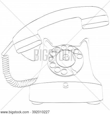Contour Or Silhouette Of An Old Vintage Telephon With Handset